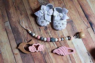 Topánočky - darčekový set pre dieťatko (ružová) - 10475878_