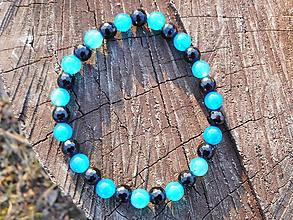 Náramky - blue and black stones - 10478768_