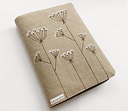 Papiernictvo - Obal na knihu - Kvitnúca tráva (natur 100% ľan) - 10477064_