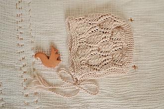 Detské čiapky - Čepček pre bábätko - newborn bavlna/merino - 10477084_