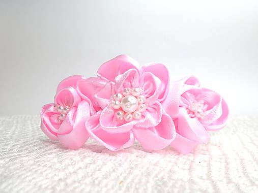 0f7a1be37 Detská saténová čelenka (ružové kvety) / Mary_Handmade - SAShE.sk ...