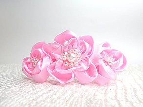 Detské doplnky - Detská saténová čelenka (ružové kvety) - 10475561_