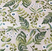 Textil - pevné režné plátno Papradie a ľan, šírka 140 cm - 10475691_