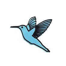 Odznaky/Brošne - Kolibrík iceland blue/black - 10478171_