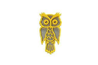 Odznaky/Brošne - Sova silver/traffic yellow - 10478204_