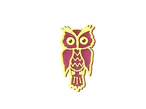 Odznaky/Brošne - Sova purple/sulfur yellow - 10478246_