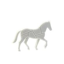 Odznaky/Brošne - Kôň negativ traffic white/silver - 10478324_