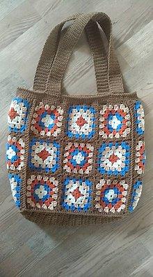 Nákupné tašky - Taška háčkovaná hnedá - 10476609_