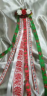 Ozdoby do vlasov - Kvetinový hrebienok s folklórnými stuhami vhodný na redový tanec - 10477299_