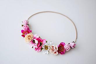 Ozdoby do vlasov - Ružová elastická čelenka s kvetinami - 10477257_