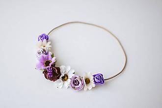 Ozdoby do vlasov - Fialová elastická čelenka s kvetinami - 10477280_