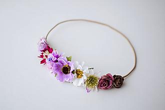 Ozdoby do vlasov - Fialová elastická čelenka s kvetinami - 10477288_