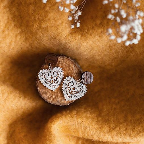 Náušnice - Náušničky - čipkované srdce (Bižutérne komponenty) - 10475326_