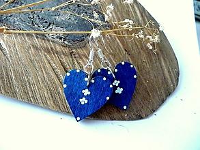 Náušnice - modré folk srdiečka-náušnice - 10476536_