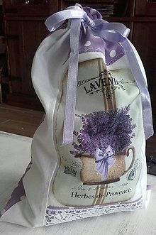 Úžitkový textil - Bavlněný sáček na bylinky Levandulový květináč - 10475483_