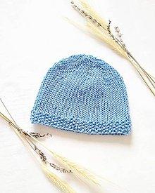 Detské čiapky - Pletená čiapočka - modrá - 10475842_