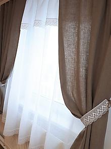 Úžitkový textil - Ľanový záves Simply - 10477949_