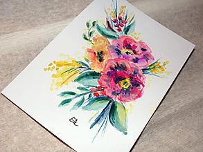 Papiernictvo - Maľovaná pohľadnica - Kytica - 10482577_