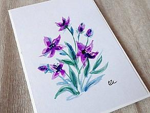 Papiernictvo - Maľovaná pohľadnica - Fialky - 10482594_