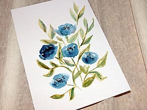 Papiernictvo - Maľovaná pohľadnica - Modré kvety - 10482602_