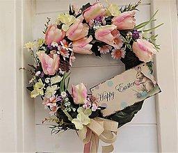 Dekorácie - Veľký veľkonočný veniec (s ružovými tulipánmi) - 10481034_