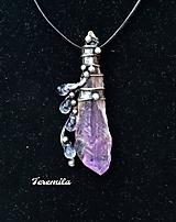 Náhrdelníky - Kapky - ametyst krystal - 10478919_