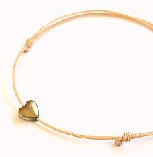 Náramky - Náramok srdce vodeodolný (Béžová) - 10479998_
