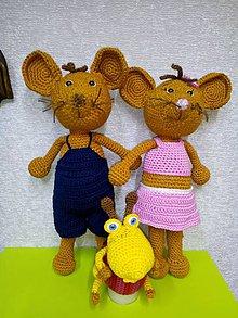 Hračky - Háčkované myšy a lienka - 10479122_