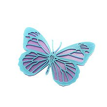 Odznaky/Brošne - Motýľ violet/turqouise blue - 10480050_