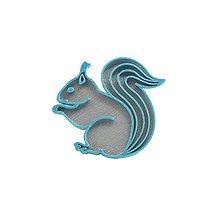 Odznaky/Brošne - Veverička silver/turqouise blue - 10482221_
