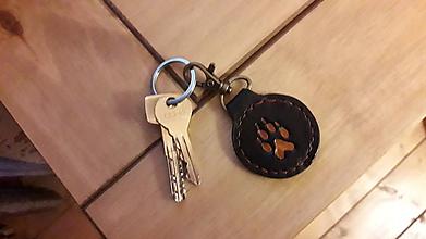Kľúčenky - Kožená kľúčenka vlčia stopa - 10480039_