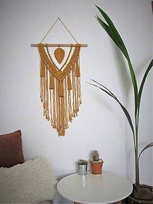 Dekorácie - Makramé závesná dekorácia INDIE (Žltá) - 10481298_