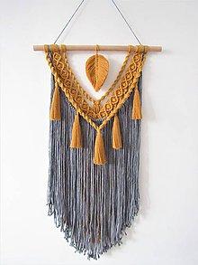 Dekorácie - Makramé závesná dekorácia INDIE (Šedá) - 10481308_