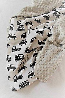 Textil - Minky deka Autíčka, 100x70cm, viac farieb - 10480491_
