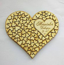 Tabuľky - Drevené srdce (Mamičke) - 10480034_