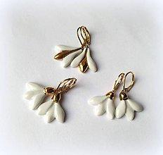 Náušnice - porcelánové náušnice - Snežienky so zlatom - 10481886_