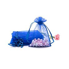 Obalový materiál - VO101 Organzové vrecúško 7 x 9 cm (modré) - 10482254_