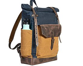 Batohy - Modrý mestský batoh z kože a voskovaného plátna.Modrý ruksak. - 10479993_