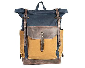 Batohy - Modrý mestský batoh z kože a voskovaného plátna.Modrý ruksak. - 10479996_