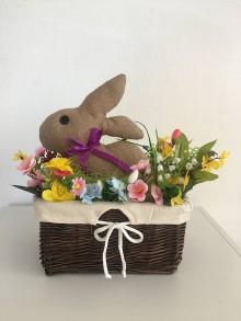 Košíky - Jutový zajačik v košíku - 10479987_