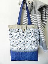 Veľké tašky - Modré kvietky - 10482576_