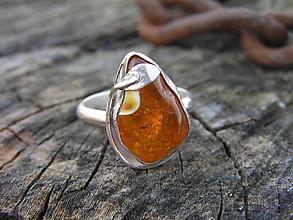 Prstene - Strieborny prsteň Ag925 Jantár - 10480855_