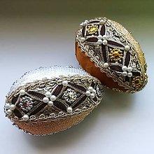 Dekorácie - Brokátové - striebristý braček a zlatavá sestrička - 10480211_