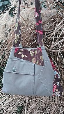 Kabelky - Rifľová kabelka RECY na rameno - kvetinková  z recyklovanej rifľoviny - 10478950_