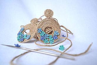 Náušnice - ľanové náušnice - modré kvietky - 10481959_