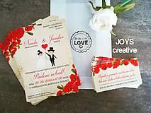 Papiernictvo - Svadobné oznámenie divé maky, červené maky - 10482456_