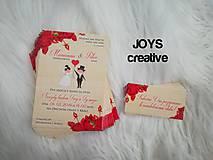 Papiernictvo - Svadobné oznámenie ruže, juta, vrecovina - 10482501_