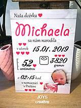 Detské doplnky - Detská tabuľka s údajmi o narodení dieťatka (Font - tlačený 27x19) - 10482557_