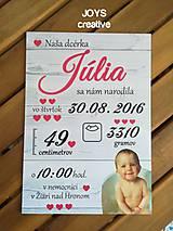 Detské doplnky - Detská tabuľka s údajmi o narodení dieťatka (Font - tlačený 27x19) - 10482601_