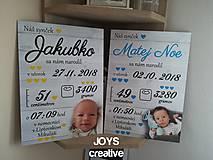 Detské doplnky - Detská tabuľka s údajmi o narodení dieťatka (Font - tlačený 27x19) - 10482607_